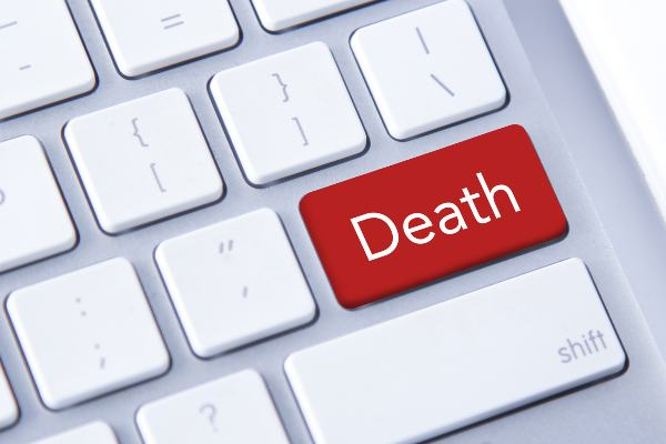 The word death is on a keyboard in an office in Texas